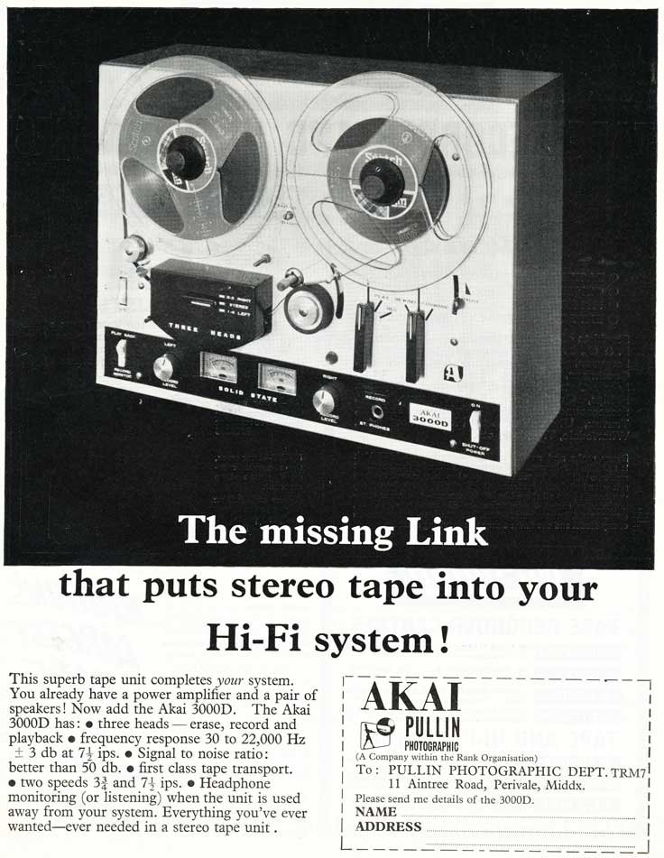 1968 United Kingdom Akai reel tape recorder ad in Reel2ReelTexas.com's vintage recording collection