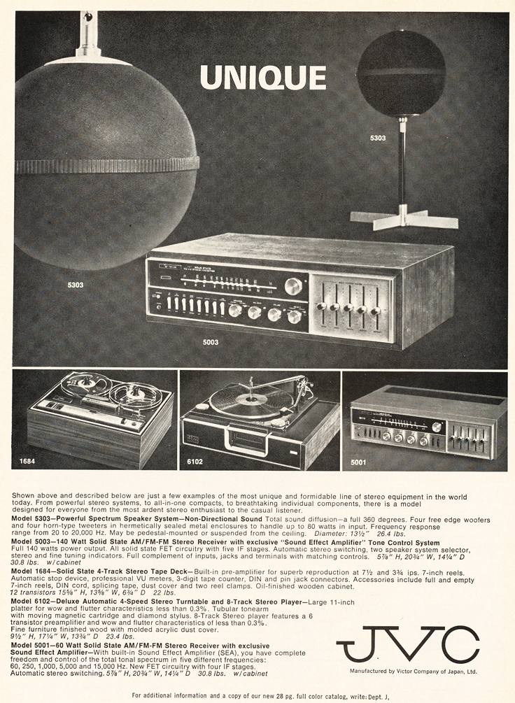 1969 ad for the JVC 1684 reel to reel tape recorder in Reel2ReelTexas.com's vintage recording collection