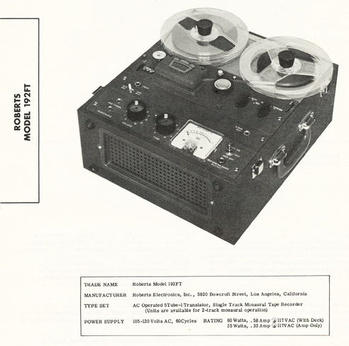 1968 manual for the Roberts 192FT reel tape recorder in Phantom Productions' vintage tape recording collection