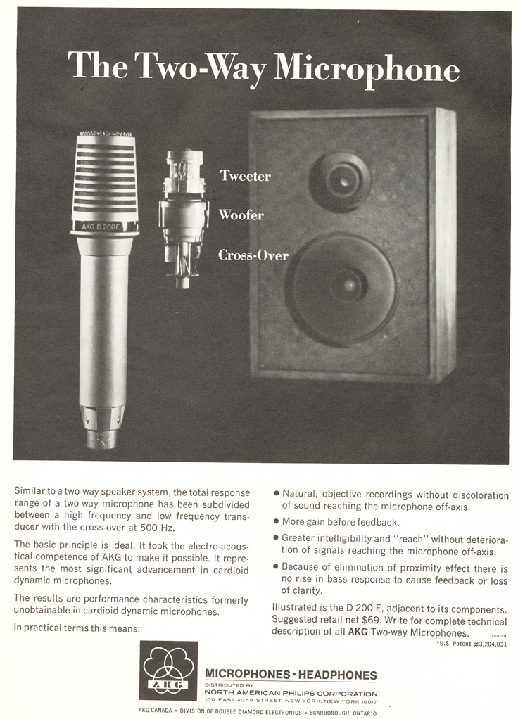1969 ad for the AKG A200E microphone in Reel2ReelTexas.com's vintage recording collection