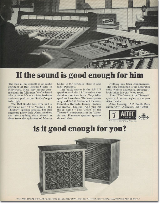 picture of 1969 Altec Voice of the Theater ad