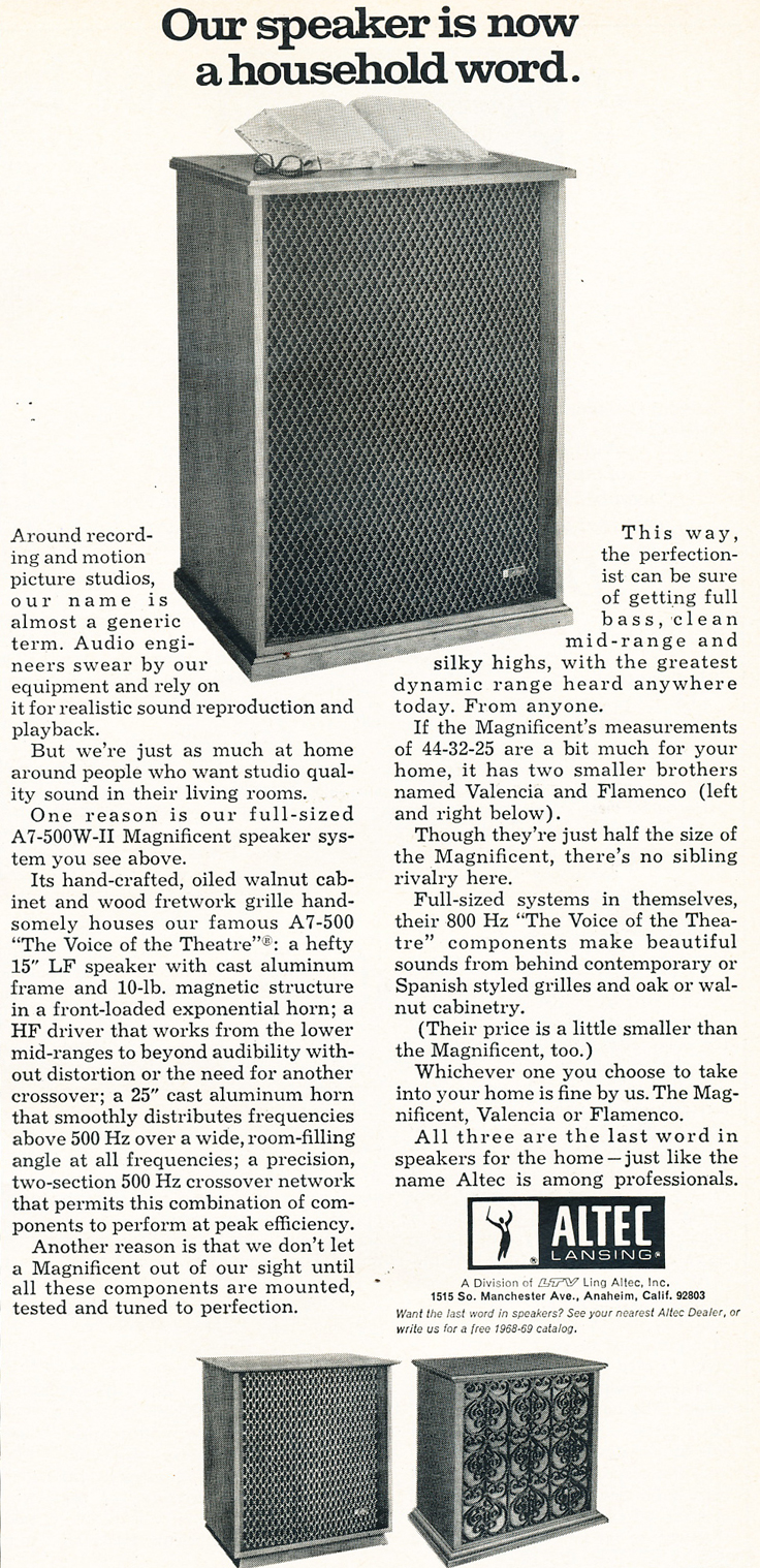 1969 ad for Altec Voice of the Theater professional speaker systems in Reel2ReelTexas.com's vintage recording collection
