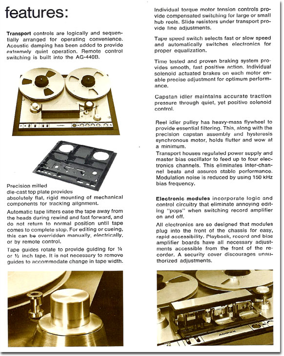 picture of 1969 Brochure for the Ampex AG440B professional reel tape recorder