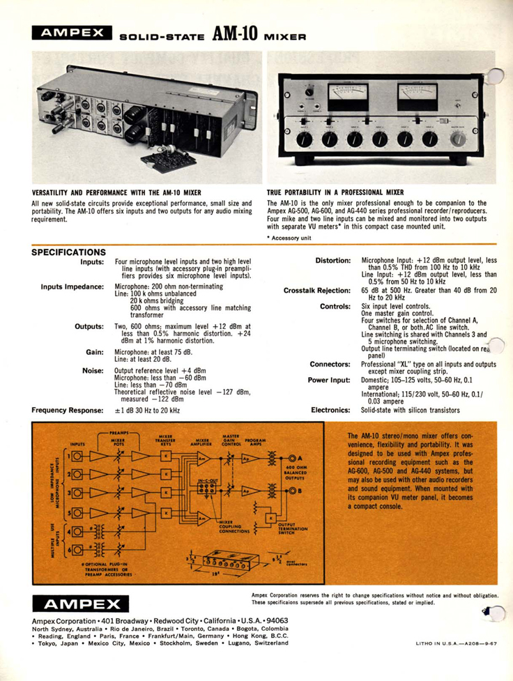 1969 brochure for the Ampex AM-10 audio mixer in Reel2ReelTexas.com's vintage recording collection