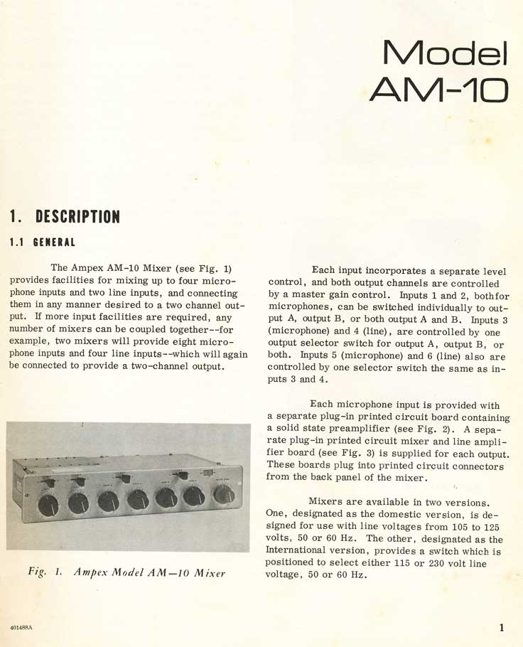 1969 Ampex AM-10 mixer manual in Reel2ReelTexas.com's vintage recording collections
