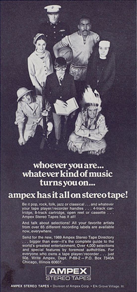 1969 ad for Ampex recording tape in Phantom Productions' vintage recor