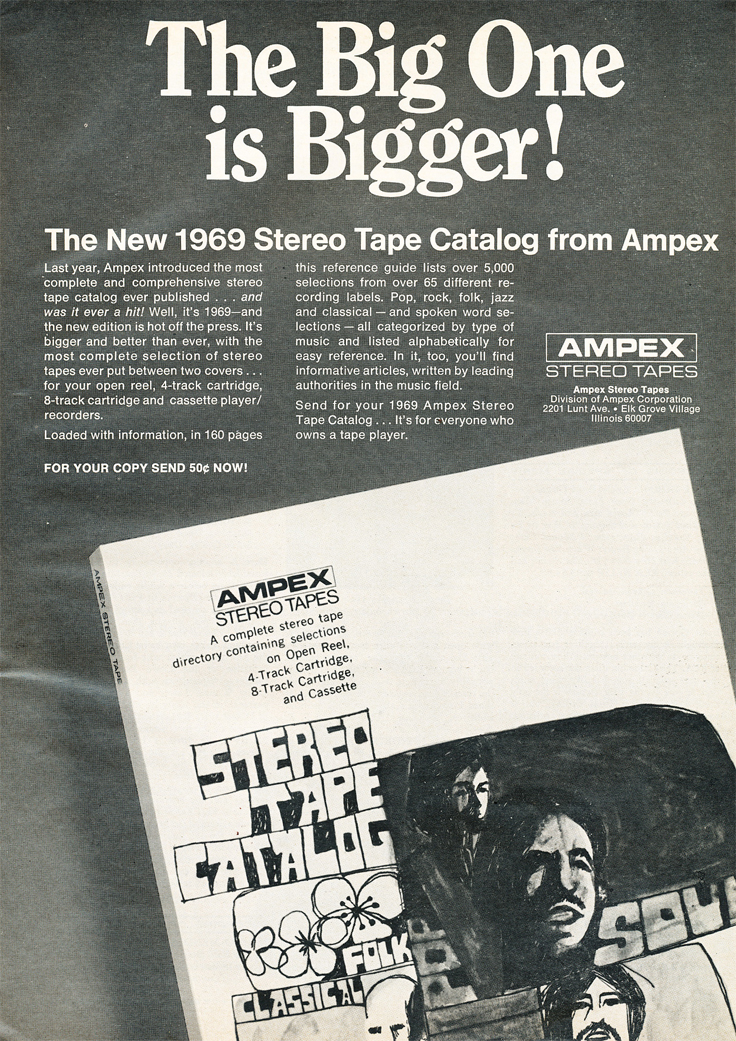 1969 ad for Ampex reel to reel tape  in Reel2ReelTexas.com's vintage recording collection