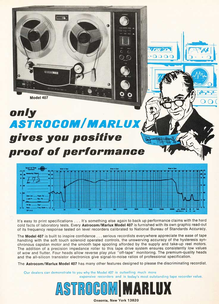1969 ad for the Astrocom Marlux reel tape recorder in Reel2ReelTexas.com's vintage recording collection