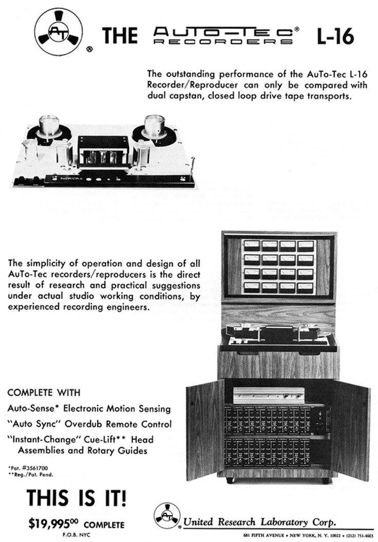 1969 ad for the Auto Tec L-16  reel tape recorder in Reel2ReelTexas.com's vintage recording collection