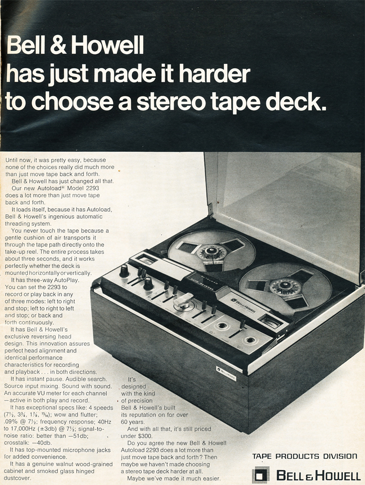 1969 ad for the Bell & Howell vaccum loading reel to reel tape recorder in Reel2ReelTexas.com's vintage recording collection