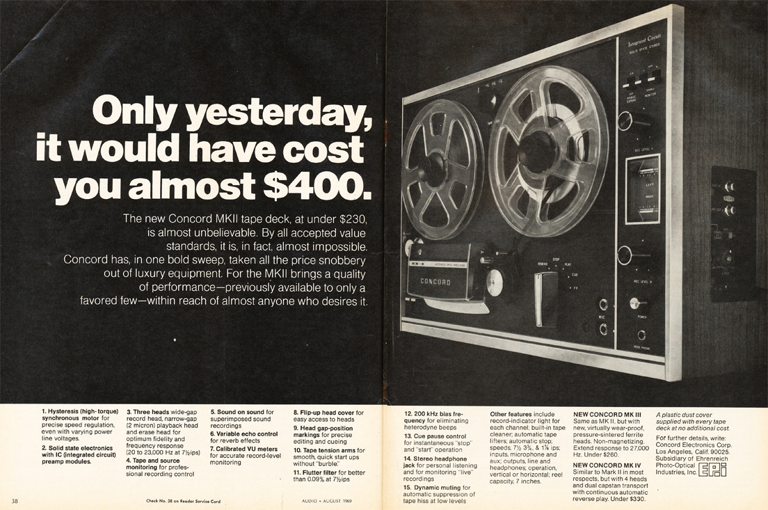 1969 ad for the Concord MK III reel to reel tape recorder in Reel2ReelTexas.com's vintage recording collection