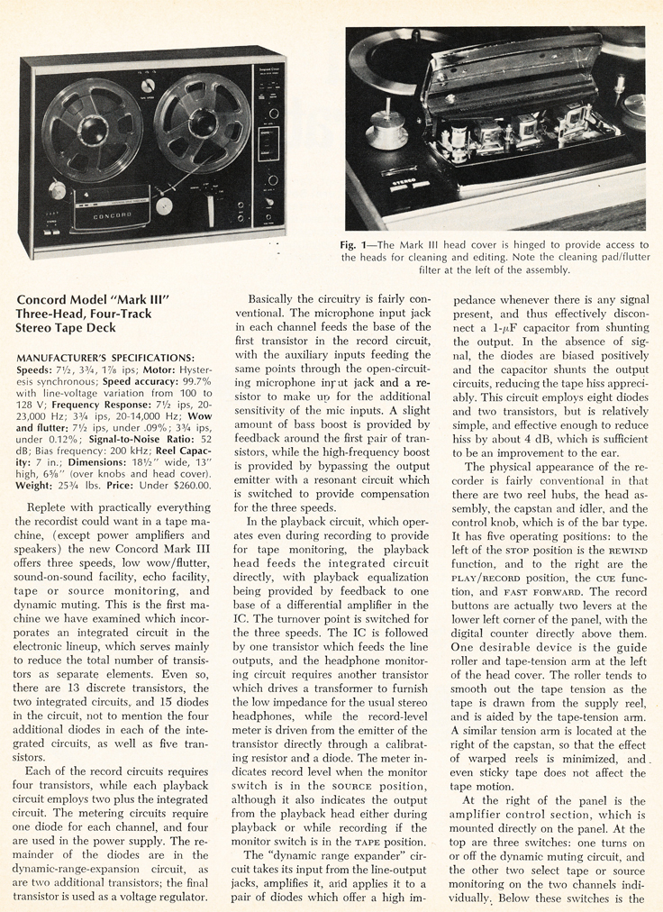 1969 review of the Concord Mark III reel to reel tape recorder in Reel2ReelTexas.com's vintage recording collection