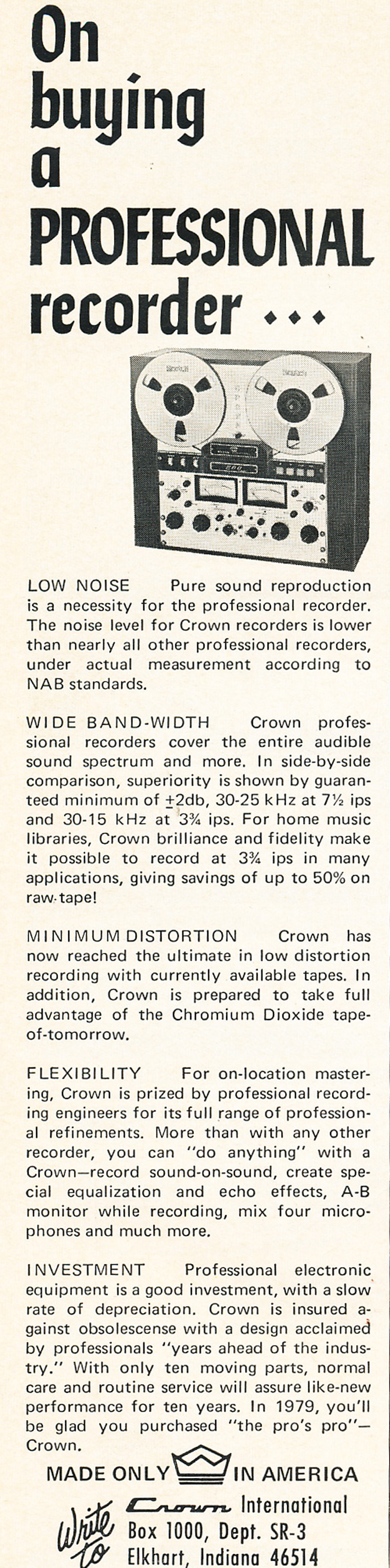1969 ad for Crown professional reel to reel tape recorders in Reel2ReelTexas.com's vintage recording collection