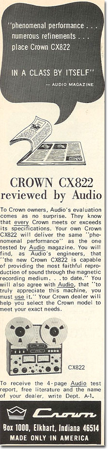 picture of 1969 Crown tape recorder ad