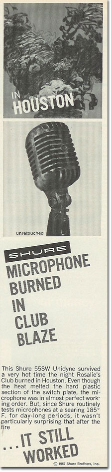 picture of 1969 Shure 55 microphone ad
