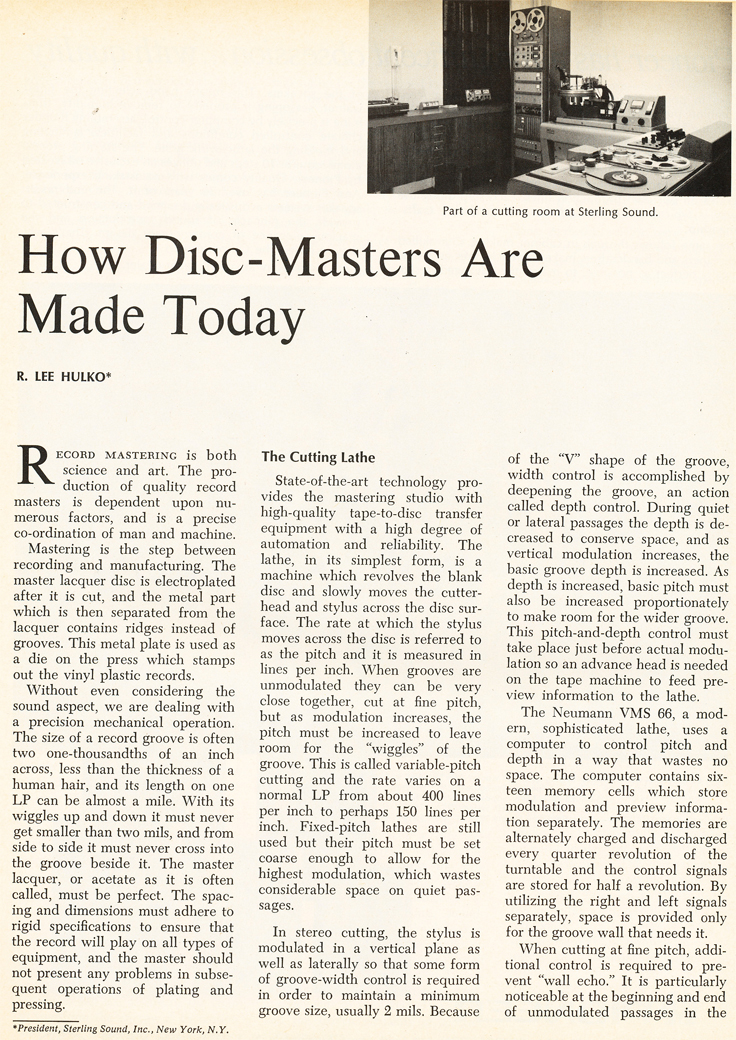 1969 article on how record discs are manufactured