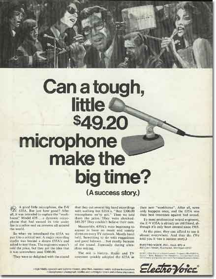 picture of 1969 Electro Voice 635 microphone ad