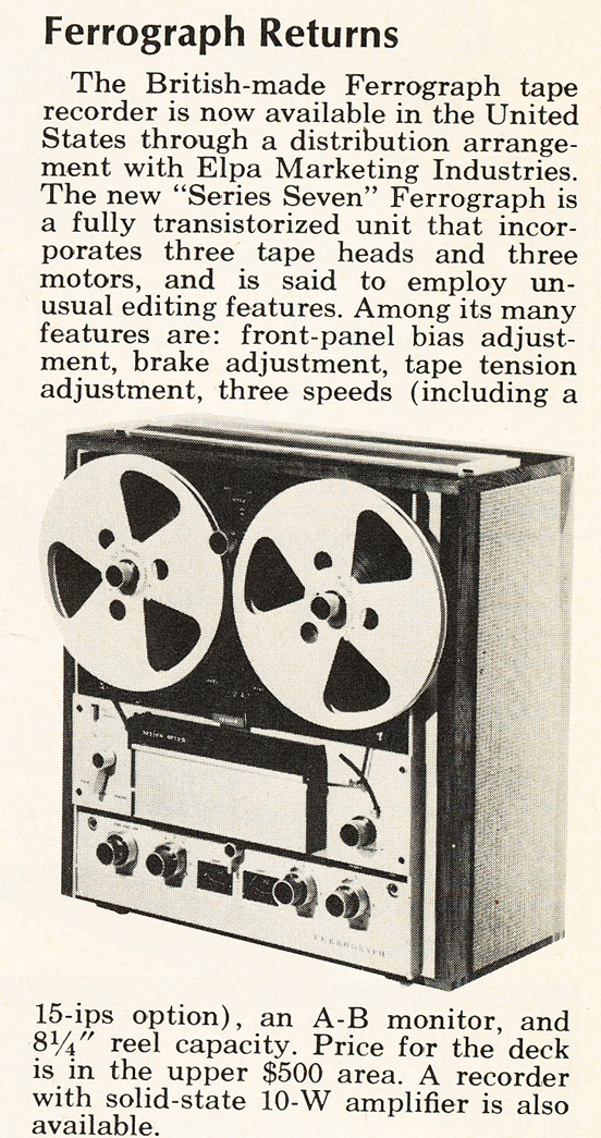 1969 announcement regarding the Ferrograph reel to reel tape recorder in Reel2ReelTexas.com's vintage recording collection