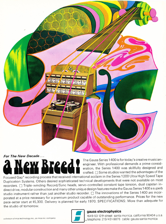 1969 ad for the Gauss professional reel to reel tape recorder in Reel2ReelTexas.com's vintage recording collection