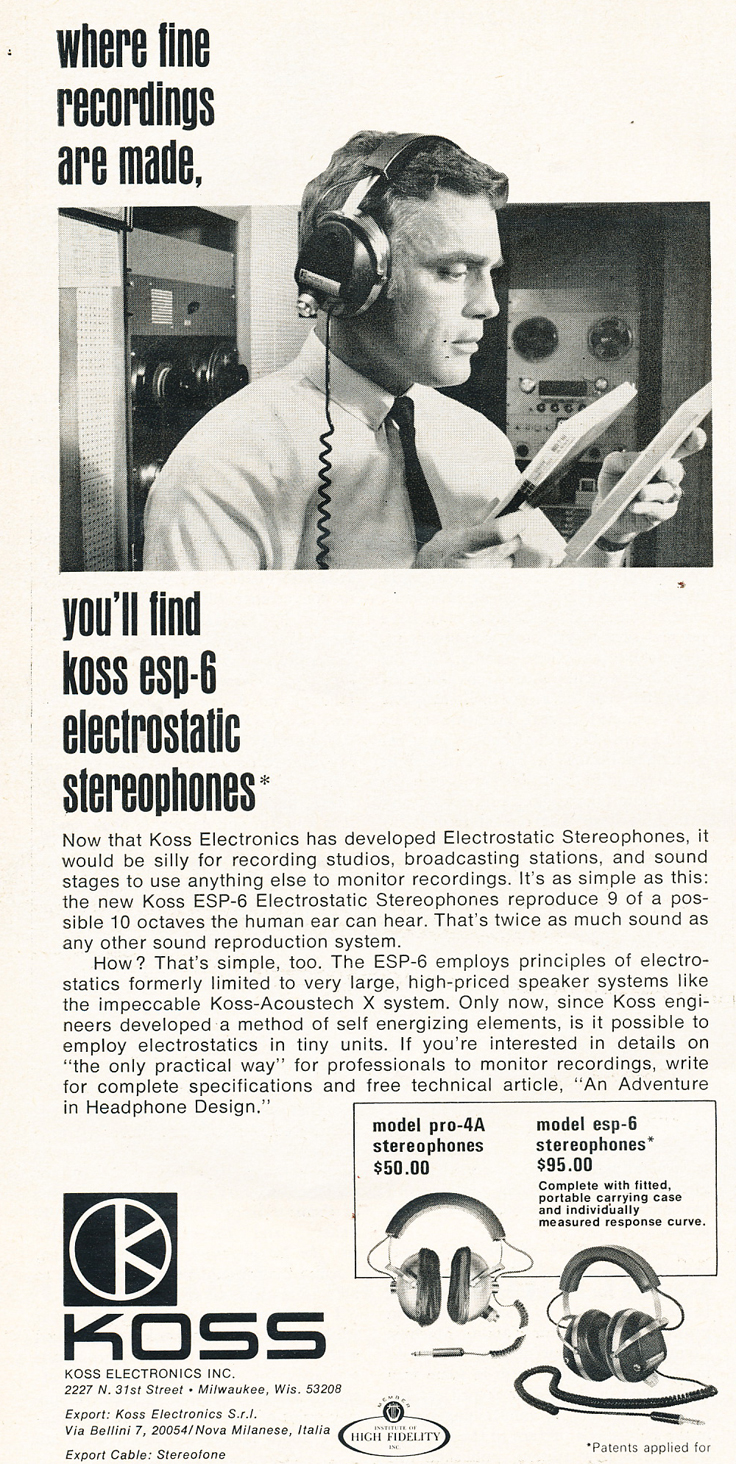 1969 ad for Koss headphones showing an Ampex recorder in the background in Reel2ReelTexas.com's vintage recording collection
