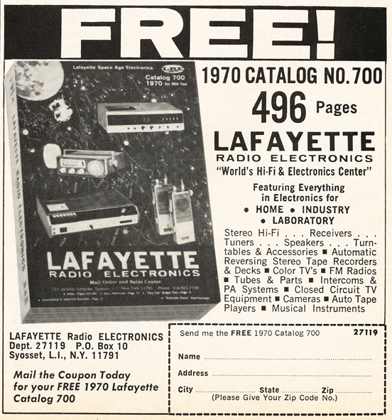1969 ad for the 1970 Lafayette Radio catalog in Reel2ReelTexas.com's vintage recording collection