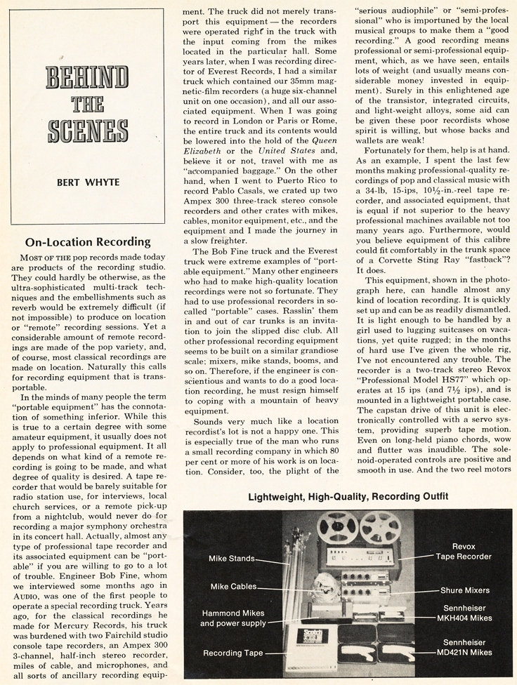 1969 article on On Location recording