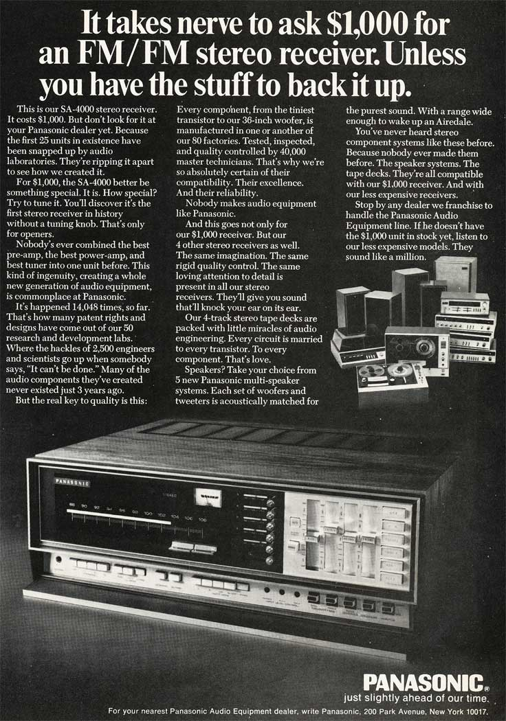 1969 ad for Panasonic audio products in Reel2ReelTexas.com's vintage recording collection