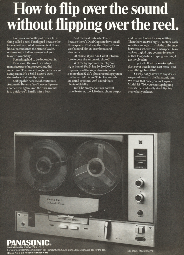 1969 ad for the Panasonic RS-796 reel to reel tape recorder in Reel2ReelTexas.com's vintage recording collection