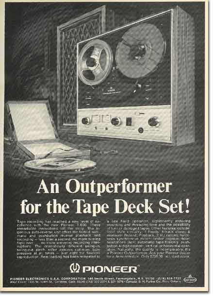 picture of 1969 Pioneer tape recorder  ad