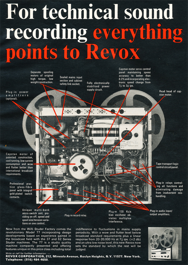 1969 ad for the Revox A77 reel to reel tape recorder in Reel2ReelTexas.com's vintage reel tape recorder collection