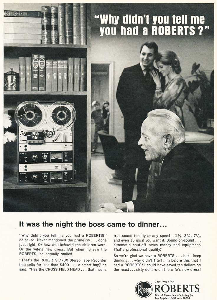 1969 ad for the Roberts 770X reel tape recorder in Reel2ReelTexas.com's vintage recording collection