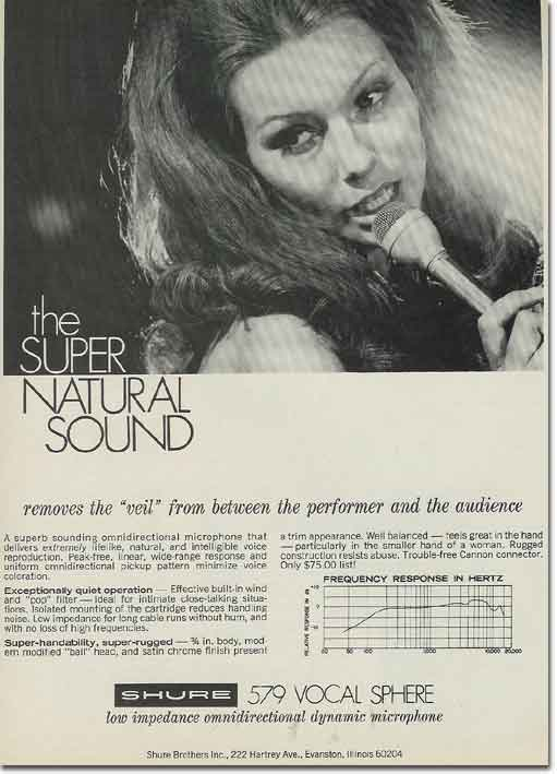 picture of 1969 Shure microphone ad