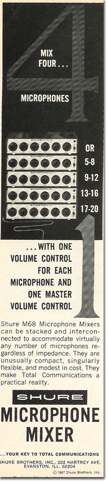 picture of 1969 Shure microphone mixer ad