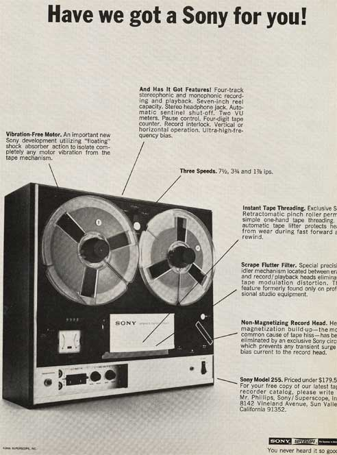 1969 Sony 255 reel tape recorder ad in Reel2ReelTexas.com's vintage recording collection