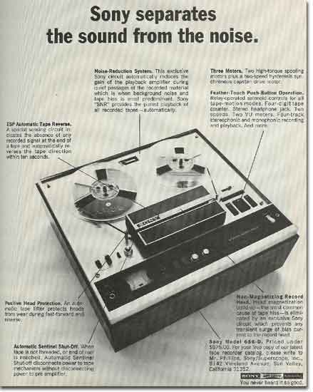 picture of 1969 Sony tape recorder  ad