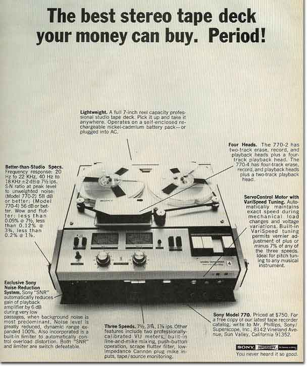 picture of 1969 Sony 777 tape recorder  ad