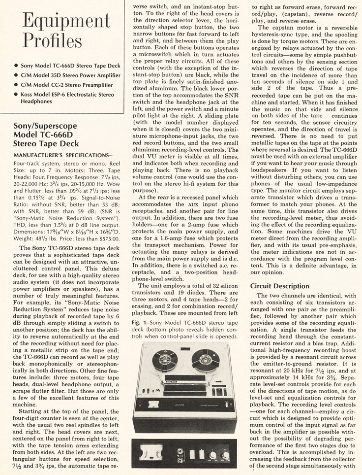 1969 review of the Sony TC-666D in Reel2ReelTexas.com's vintage recording collection