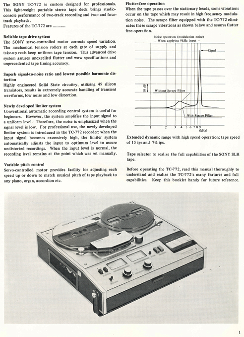 1969 Owners manual pages for the Sony TC-772 professional reel tape recorder in Phantom Productions' vintage reel tape reorder collection