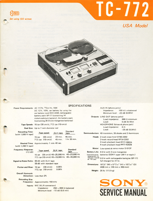 1963 cover of the Sony TC-772 reeel tape recorder service manual in Reel2ReelTexas.com's vintage reel tape recorder collection