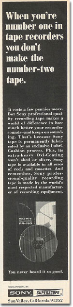 1969 ad Sony tape in Reel2ReelTexas.com's vintage recording collection