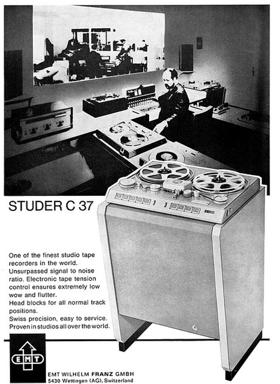1969 ad for the Studer C37 professional reel to reel tape recorder in Reel2ReelTexas.com's vintage recording collection