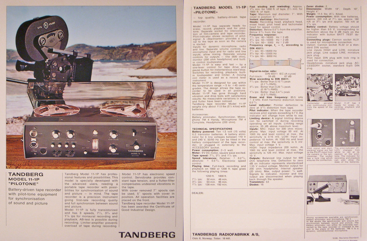 1969 Tandberg 11 reel to reel tape recorder ad in the Reel2ReelTexas.com's vintage recording collection