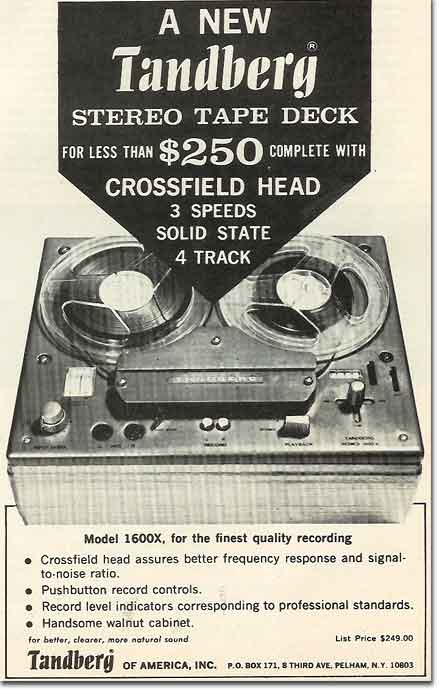 1969 ad for theTandberg 1600X reel to reel tape recorder in the Reel2ReelTexas.com - Museum of MAgnetic Sound Recording vintage recording c