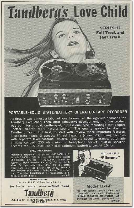 1969 ad for the Tandberg 11 reel to reel tape recorder in the Reel2ReelTexas.com - Museum of MAgnetic Sound Recording vintage recording c
