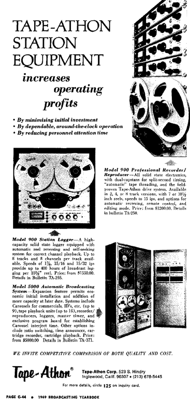 1969 Tape Athon ad in Reel2ReelTexas' vintage recording collection