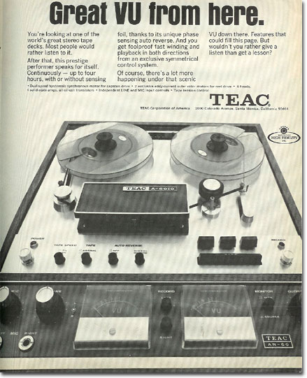 picture of 1969 Teac 6010 tape recorder ad