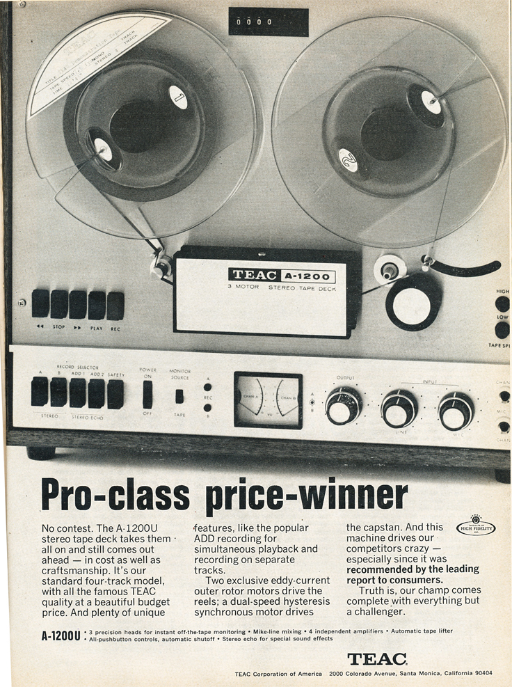 1969 ad for the Teac A-1200 reel to reel tpe recorder in Reel2ReelTexas.com's vintage recording collection