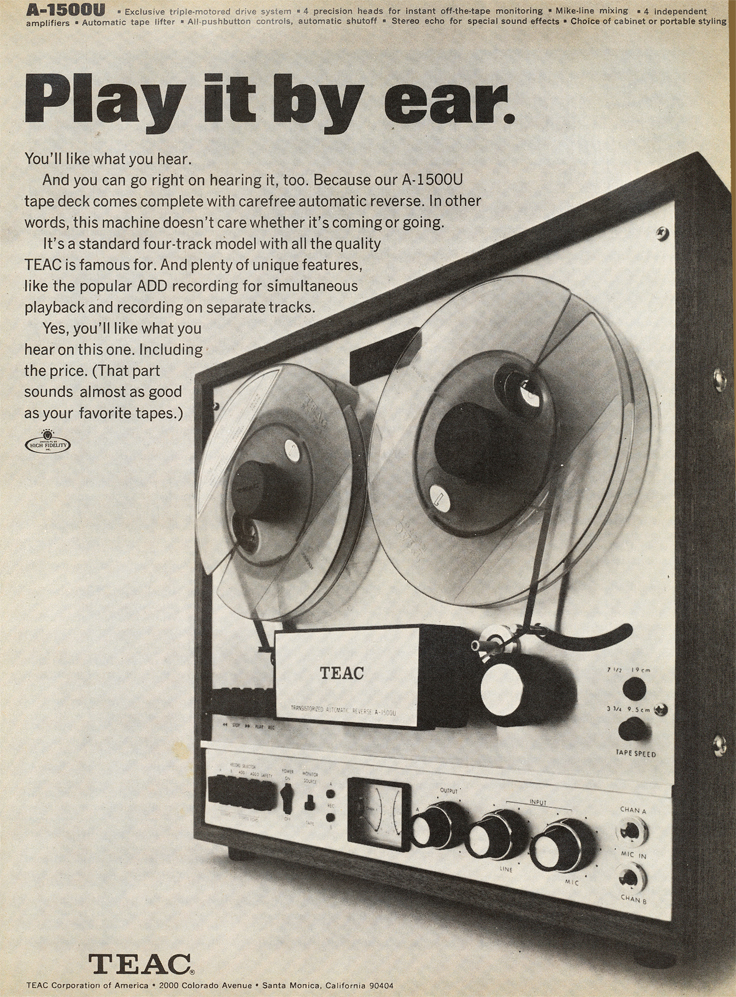 1969 ad for the Teac A-1500U reel to reel tpe recorder in Reel2ReelTexas.com's vintage recording collection