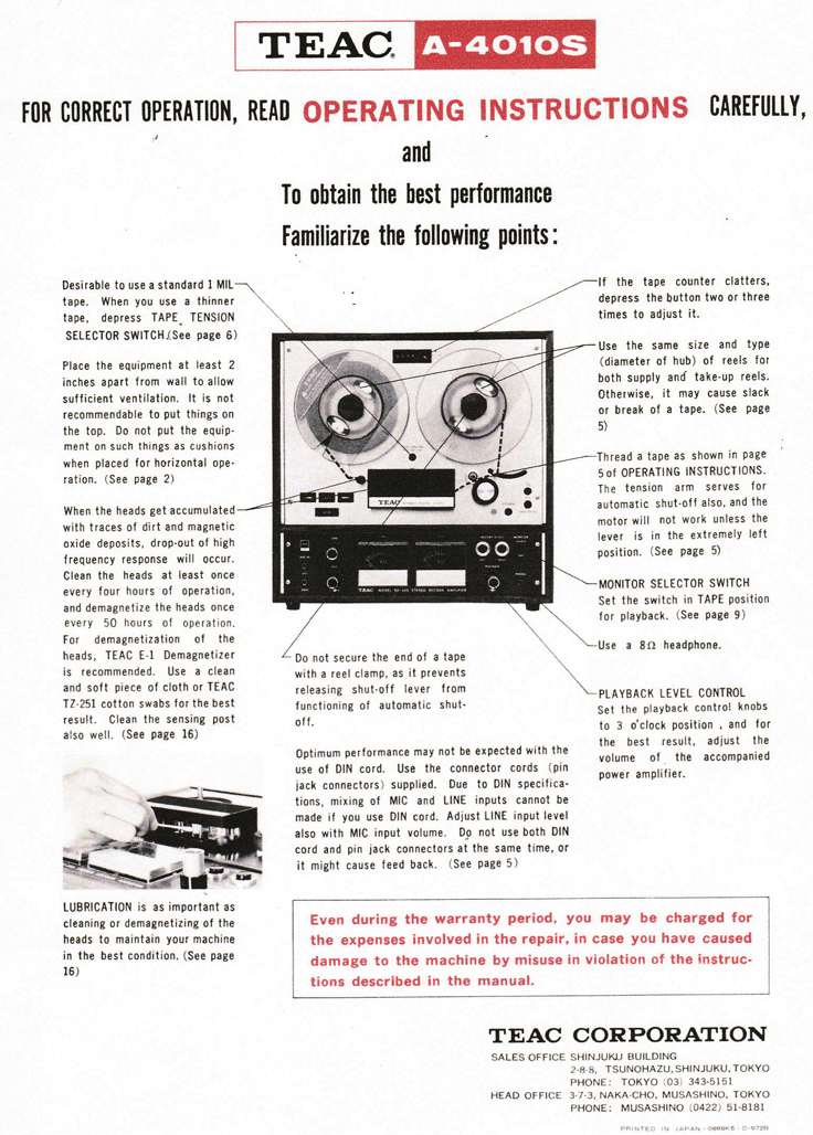 1969 ad for the Teac A-4010S reel to reel tape recorder in Reel2ReelTexas.com's vintage recording collection