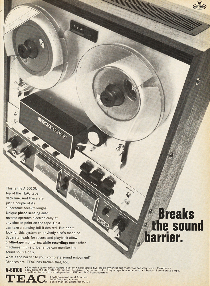 1969 ad for the Teac A-6010 reel to reel tape recorder in Reel2ReelTexas.com's vintage recording collection